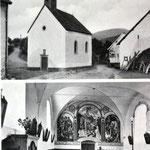 Die Kapelle um 1950, innen sieht man noch die schöne Wandmalerei, die mittlerweile von irgendwelchen Kulturbanausen übermalt wurde