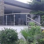 Terrassengeländer-Edelstahl und getöntes Glas