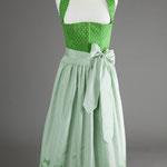 Hellgrünes Baumwolle-Dirndl mit Seidenschürze (100%) Seide - handbedruckt.