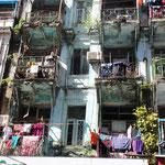 Aussicht aus unserem Zimmer in Yangon