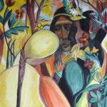 taf art, nach Macke Gouache auf XL Leinwand 2005, Privatbesitz