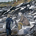 taf art, Helford River Cornwall 2008, Gouache auf XL Leinwand 100x70 cm (HxB)