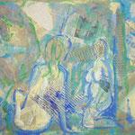 taf art, Badende Mischtechnik/Collage auf Hartfaserplatte 2000, Privatbesitz