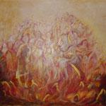 taf art, Firedance Collage/Gouachefarben auf XL Leinwand 2001 100x120 cm (HxB), Hotelbesitz