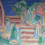 taf art, Sacre Coeur Collage/Gouachefarben auf XL Leinwand 2000 120x80cm (HxB), Privatbesitz