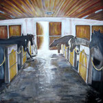 taf art, In the stables Altenmarkt 2007, Gouache auf XL Leinwand 100x100 cm (HxB)