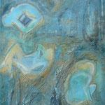 blue bodies - Goauche & Ölkreide auf Leinen 50x120 cm 2003