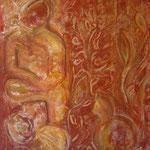 taf art, Kater Mischtechnik/Gouachefarben/Sand auf XL Leinwand 2001  60x80cm (HxB), Privatbesitz