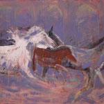 Wild horses - 100x120 cm Gouache auf Leinen 2002