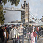 taf art, Tower Bridge London 2008, Gouache auf XL Leinwand 100x70 cm (HxB)
