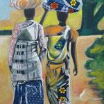 African patchwork  2012, Gouache auf Leinwand, 150x50cm (HxB)