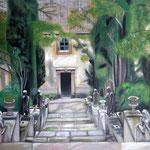 taf art, Gartentreppe La Raixa Mallorca 2008, Gouache auf XL Leinwand 100x70 cm (HxB)