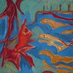 Wasserwege - 110x100 cm Gouache auf Hartfaserplatte 1999