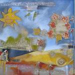 taf art, Bachelor  2010, Gouache mit Collagetechnik auf Leinwand, 70x150cm (HxB)