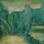 On golden pond - 120x100 cm Gouachefarben/Strukturpaste auf Leinen 2000