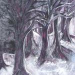 taf art, Durch den Wald 2003, Gouache auf Hartfaserplatte 80x60cm (HxB)