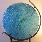 "Maelstrom, float glass, oxides, steel stand, 28""x24"""