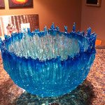 "Blue bowl, lost wax casting, bullseye art glass, 10""x10"""