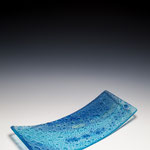"Lake Winnipeg, float glass, metal oxides, 15""x7""x2"""