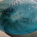"Lake Winnipeg storm, float (window) glass, metal oxides, 20"" diameter"