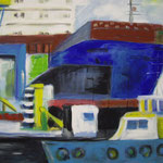 Containerhafen 2007;  Gouache auf Leinwand;  100x70 cm  Privatbesitz