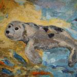Lieblingstier Seehund  2002; Mischtechnik/Collage auf Leinwand;  100x80 cm  Privatbesitz