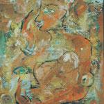 Mutter mit Kind  2000;  Gouache auf Papier;  70x100 cm, Privatbesitz