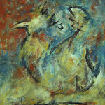 Der Hahn  2001;   Mischtechnik auf Leinwand;  80x100 cm