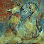 Der Hahn  2001;   Mischtechnik auf Leinwand;  80x100 cm, Privatbesitz