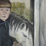 Stille Freude  2009;  Gouache auf Leinwand;  50x60 cm  Privatbesitz