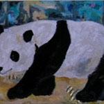 Lieblingstier Panda  2002;  Mischtechnik/Collage auf Leinwand;  100x80 cm  Privatbesitz