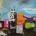Stillleben 5 2008;  Collage  auf Papier;  100x70 cm