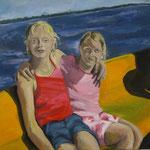 Zwei in einem Boot  2008; Gouache auf Leinwand;  100x100 cm, Privatbesitz