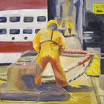 Hafenarbeiter 1 2008;  Gouache auf Leinwand;  50x50 cm  Privatbesitz