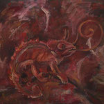 Rotes Chamäleon  2005;  Mischtechnik auf Leinwand;  100x80 cm