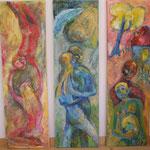 verliebt-verlobt-verheiratet  2001; Mischtechnik auf Leinwand; je 30x100 cm; Triptychon cm