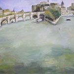 Pariser Brücke  2008;  Gouache auf Leinwand;  100x80 cm
