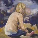 Mädchen in der Sonne;  Gouache/Collage auf Leinwand;  80x80 cm