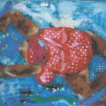 Die Schwimmerin  2001; Collage auf Leinwand;100x80 cm Privatbesitz