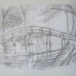 Fischerhude Brückenbogen  2007;  Graphit auf Papier,  70x50 cm