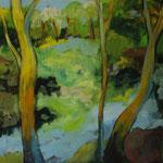 Frühlingsluft  2003;  Gouache auf Leinwand;  100x70 cm, Privatbesitz