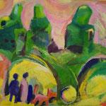 Spaziergang im Park  1999;   Gouache auf Papier;  ca. 100x70 cm