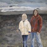Kinder am Strand  2006; Gouache auf Leinwand;  100x70 cm