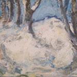 Winterweg  2003;  Mischtechnik auf Leinwand; 60x80 cm