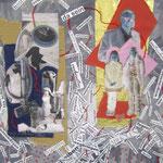 Familienarbeit  2008;  Collage auf Platte;  100x70
