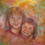 Schwestern 2  2009;  Gouache auf Leinwand;  60x50 cm  Privatbesitz