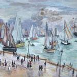 Nach Monet   2009;  Gouache auf leinwand;  ca. 65x45 cm  Privatbesitz