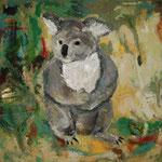 Lieblingstier Koala  2002; Mischtechnik/Collage auf Leinwand;  100x100 cm  Privatbesitz