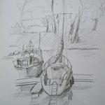 Boote 2007;  Graphit auf Papier,  70x50 cm