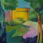 Sommerstille 2003;  Gouache auf Leinwand;  100x70 cm